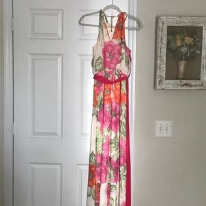 Eliza J high low floral gown, size 4.